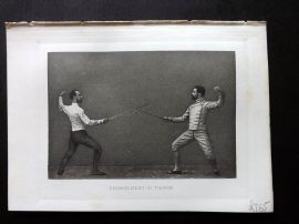 Badminton Library 1889 Sword Fencing Print. Engagement in Tierce